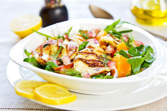 Halloumi with Orange and Rocket salad Stock Image
