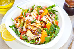 Halloumi with Orange and Rocket salad. Grilled Halloumi with Pomegranate,Orange and Rocket salad Royalty Free Stock Photo