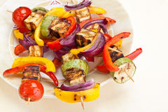 Halloumi and Vegetable Kebabs Stock Photos