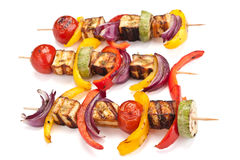 Halloumi and vegetables kebabs royalty free stock photography