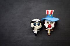 Hallow ween le fond de concept de l'ami en bois de fantôme de poupée Photos libres de droits