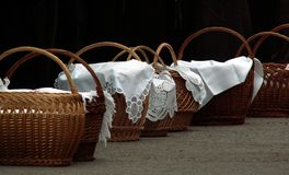 Hallowed meal baskets. Meal baskets prepaired to be hallowed in the morning of Easter in Csikszereda, Transylvania Stock Photography