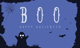 Hallowee bakgrund med spöken och slagträet Fotografering för Bildbyråer
