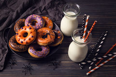 Halloweeen donuts Stock Images
