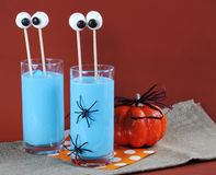 Halloweem Blue Smoothie with Marshmallow Eyes Royalty Free Stock Photography