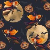 halloween Безшовная картина с ведьмой и луной и летучей мышью сказовая иллюстрация девушка на венике на синем иллюстрация вектора