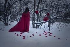 halloween Ведьма девушки в красном цвете на снеге колдовство Стоковое Фото