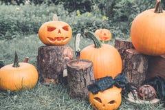 halloween Джек-o-фонарик страшная тыква с улыбкой около ножа в пне в зеленом лесе, внешнем украшение фото тонизировало Стоковые Изображения