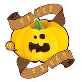 halloween изолировал белизну символа Тыква шаржа с лентой Стоковое Изображение