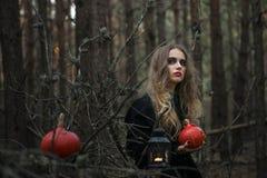 halloween красивая девушка ведьмы в черном платье в лесе Стоковое Изображение RF