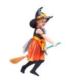 halloween Летание ребенка ведьмы изолированное на белизне Стоковая Фотография
