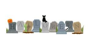 halloween Могила и рука зомби Черный кот и череп бесплатная иллюстрация