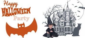 halloween Смешная девушка ребенка в костюме ведьмы на хеллоуин Стоковая Фотография