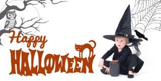 halloween Смешная девушка ребенка в костюме ведьмы на хеллоуин Стоковая Фотография RF