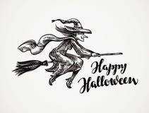 halloween Старое злое летание ведьмы на эскизе broomstick также вектор иллюстрации притяжки corel иллюстрация штока