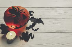 halloween страшный темная пугающая тыква фонарика jack с летучей мышью призрака Стоковая Фотография