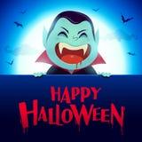 halloween счастливый Вампир Дракула с большим шильдиком в лунном свете иллюстрация штока