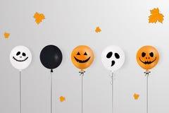halloween счастливый Концепция праздника с хеллоуином раздувает, падая листья апельсина для знамени, плаката, поздравительной отк Стоковое фото RF