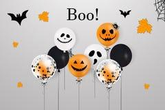 halloween счастливый Концепция праздника с хеллоуином раздувает, падая листья апельсина для знамени, плаката, поздравительной отк Стоковые Фото