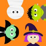 halloween счастливый Мумия, отсчет Дракула вампира, шляпа whitch, комплект значка тела головы стороны зомби круглый Младенец ch м иллюстрация штока