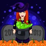 halloween счастливый Плакат, открытка на хеллоуин Красивая ведьма, ведьмы котел, шляпа ведьмы, зелье, тыква Стоковое фото RF