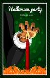 halloween счастливый Плакат, открытка на хеллоуин Праздник, рука ведьм, зелье, волшебство, тыквы сбора Стоковые Фото