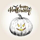 halloween Тыква с страшной smilling изогнутой стороной Винтажной иллюстрация нарисованная рукой Стоковая Фотография RF