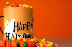 Halloween 1. Halloween Candy and container on orange field vector illustration