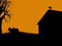 силуэт иллюстрации halloween Стоковое Изображение RF