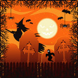 Halloween. Old cemetery with graves, spiders, bats phantoms and witches Royalty Free Stock Image