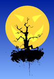 Halloween. A crooked bare tree with blots and graves Royalty Free Stock Images