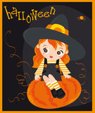Halloween. Card with little girl and pumpkin on the black background