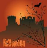 Halloween. Vector illustration with castle Stock Photos