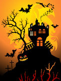 Halloween. Scary halloween night scene with castle and bats Stock Images