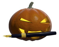 Halloween. Pumpkin-style halloween with pen in his teeth Royalty Free Illustration