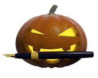 Halloween. Pumpkin-style halloween with pen in his teeth Vector Illustration