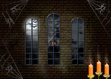 Halloween. View in window on get fat moon from old lock Stock Image