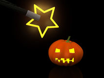 Halloween. One halloween pumpkins with magic wand. 3d Stock Images