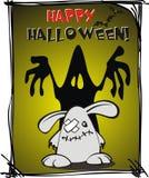 Halloween. Cartoon rabbit on a festive greeting card for Halloween Stock Photography