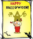 Halloween. Cartoon girl on a festive greeting card for Halloween Stock Images
