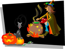 Halloween. Illustrated post card for October month royalty free illustration