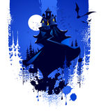 Halloween. Grunge background with dark castle Royalty Free Stock Images