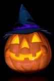 Halloween. Pumkin with tie blue hat stock photography