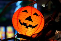 Halloween. Lantern at the night - horizontal format Royalty Free Stock Image