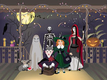 Halloween. Eve celebration, children in costumes, vector illustration Royalty Free Stock Images