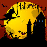 Halloween. Vector illustration Halloween witch on night Royalty Free Stock Photos