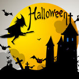 Halloween. Vector illustration Halloween witch on night Stock Photos