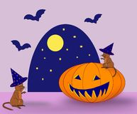 Halloween. Two mice, a pumpkin and some bats Royalty Free Stock Images