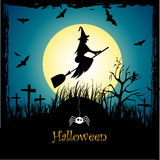 Halloween. Background with moon and old tree, witch flying on a broom Royalty Free Stock Photography