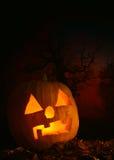 Halloween. Pumpkin on dark red background Royalty Free Stock Photography